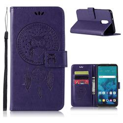 Intricate Embossing Owl Campanula Leather Wallet Case for LG Q7 / Q7+ / Q7 Alpha / Q7α - Purple
