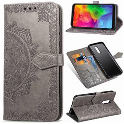Embossing Imprint Mandala Flower Leather Wallet Case for LG Q7 / Q7+ / Q7 Alpha / Q7α - Gray