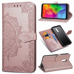 Embossing Imprint Mandala Flower Leather Wallet Case for LG Q7 / Q7+ / Q7 Alpha / Q7α - Rose Gold
