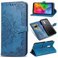 Embossing Imprint Mandala Flower Leather Wallet Case for LG Q7 / Q7+ / Q7 Alpha / Q7α - Blue