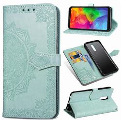Embossing Imprint Mandala Flower Leather Wallet Case for LG Q7 / Q7+ / Q7 Alpha / Q7α - Green