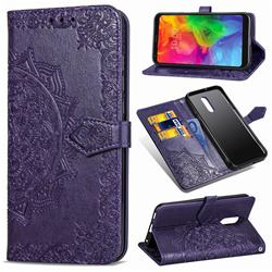 Embossing Imprint Mandala Flower Leather Wallet Case for LG Q7 / Q7+ / Q7 Alpha / Q7α - Purple