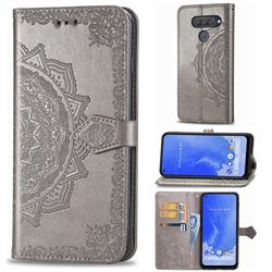 Embossing Imprint Mandala Flower Leather Wallet Case for LG Q70 - Gray