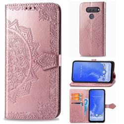 Embossing Imprint Mandala Flower Leather Wallet Case for LG Q70 - Rose Gold