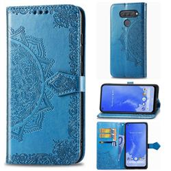 Embossing Imprint Mandala Flower Leather Wallet Case for LG Q70 - Blue