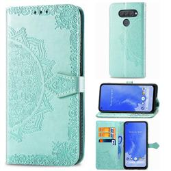 Embossing Imprint Mandala Flower Leather Wallet Case for LG Q70 - Green