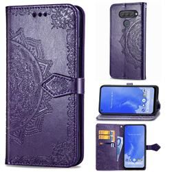 Embossing Imprint Mandala Flower Leather Wallet Case for LG Q70 - Purple