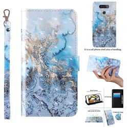 Milky Way Marble 3D Painted Leather Wallet Case for LG Q70