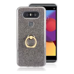 Luxury Soft TPU Glitter Back Ring Cover with 360 Rotate Finger Holder Buckle for LG Q8(2017, 5.2 inch) - Black