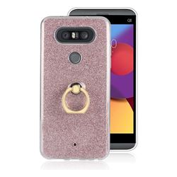 Luxury Soft TPU Glitter Back Ring Cover with 360 Rotate Finger Holder Buckle for LG Q8(2017, 5.2 inch) - Pink