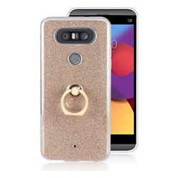 Luxury Soft TPU Glitter Back Ring Cover with 360 Rotate Finger Holder Buckle for LG Q8(2017, 5.2 inch) - Golden