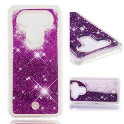 Dynamic Liquid Glitter Quicksand Sequins TPU Phone Case for LG Q8(2017, 5.2 inch) - Purple