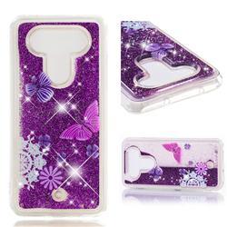 Purple Flower Butterfly Dynamic Liquid Glitter Quicksand Soft TPU Case for LG Q8(2017, 5.2 inch)