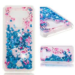 Blue Plum Blossom Dynamic Liquid Glitter Quicksand Soft TPU Case for LG Q8(2017, 5.2 inch)