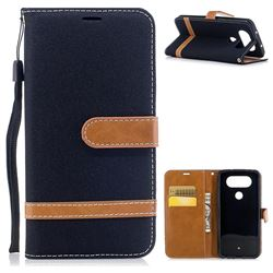 Jeans Cowboy Denim Leather Wallet Case for LG Q8 - Black