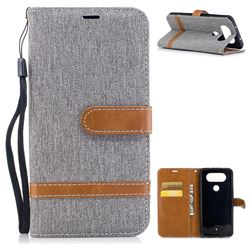 Jeans Cowboy Denim Leather Wallet Case for LG Q8 - Gray