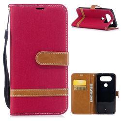 Jeans Cowboy Denim Leather Wallet Case for LG Q8 - Red