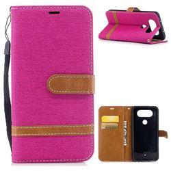 Jeans Cowboy Denim Leather Wallet Case for LG Q8 - Rose