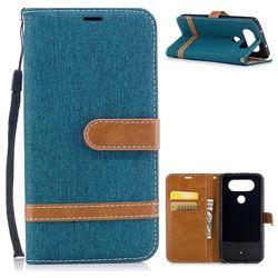 Jeans Cowboy Denim Leather Wallet Case for LG Q8 - Green