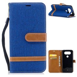 Jeans Cowboy Denim Leather Wallet Case for LG Q8(2017, 5.2 inch) - Sapphire