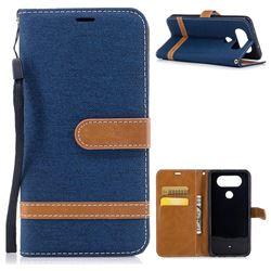 Jeans Cowboy Denim Leather Wallet Case for LG Q8 - Dark Blue