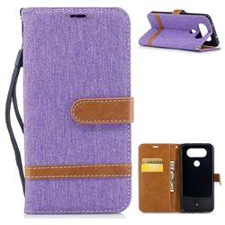 Jeans Cowboy Denim Leather Wallet Case for LG Q8 - Purple