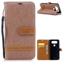 Jeans Cowboy Denim Leather Wallet Case for LG Q8 - Brown