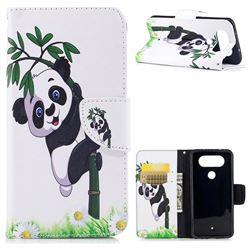 Bamboo Panda Leather Wallet Case for LG Q8