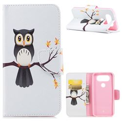 Owl on Tree Leather Wallet Case for LG Q8