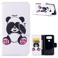 Lovely Panda Leather Wallet Case for LG Q8