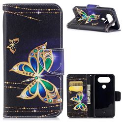 Golden Shining Butterfly Leather Wallet Case for LG Q8