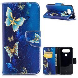 Golden Butterflies Leather Wallet Case for LG Q8