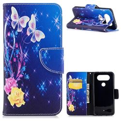 Yellow Flower Butterfly Leather Wallet Case for LG Q8