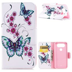 Peach Butterflies Leather Wallet Case for LG Q8(2017, 5.2 inch)