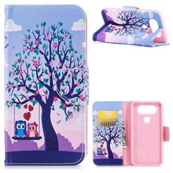 Tree and Owls Leather Wallet Case for LG Q8