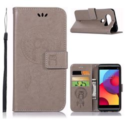 Intricate Embossing Owl Campanula Leather Wallet Case for LG Q8(2017, 5.2 inch) - Grey