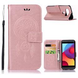 Intricate Embossing Owl Campanula Leather Wallet Case for LG Q8(2017, 5.2 inch) - Rose Gold