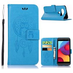 Intricate Embossing Owl Campanula Leather Wallet Case for LG Q8(2017, 5.2 inch) - Blue