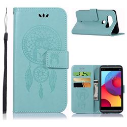 Intricate Embossing Owl Campanula Leather Wallet Case for LG Q8(2017, 5.2 inch) - Green