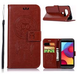 Intricate Embossing Owl Campanula Leather Wallet Case for LG Q8(2017, 5.2 inch) - Brown