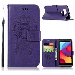 Intricate Embossing Owl Campanula Leather Wallet Case for LG Q8(2017, 5.2 inch) - Purple