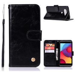 Luxury Retro Leather Wallet Case for LG Q8(2017, 5.2 inch) - Black