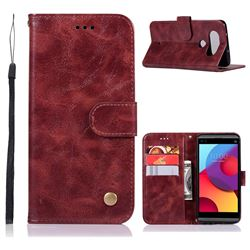 Luxury Retro Leather Wallet Case for LG Q8(2017, 5.2 inch) - Wine Red