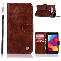 Luxury Retro Leather Wallet Case for LG Q8(2017, 5.2 inch) - Brown