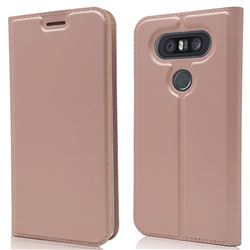 Ultra Slim Card Magnetic Automatic Suction Leather Wallet Case for LG Q8(2017, 5.2 inch) - Rose Gold