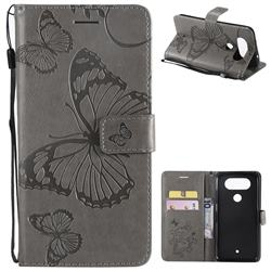 Embossing 3D Butterfly Leather Wallet Case for LG Q8(2017, 5.2 inch) - Gray