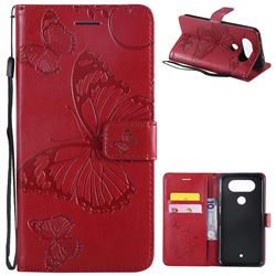 Embossing 3D Butterfly Leather Wallet Case for LG Q8(2017, 5.2 inch) - Red