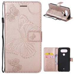 Embossing 3D Butterfly Leather Wallet Case for LG Q8(2017, 5.2 inch) - Rose Gold