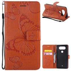 Embossing 3D Butterfly Leather Wallet Case for LG Q8(2017, 5.2 inch) - Orange