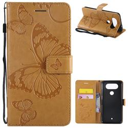 Embossing 3D Butterfly Leather Wallet Case for LG Q8(2017, 5.2 inch) - Yellow